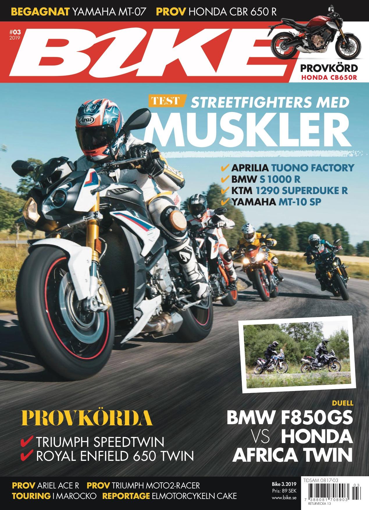 Omslaget till senaste utgåvan av tidningen Bike.